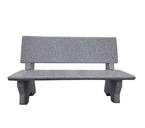 Dehner Gartenbank, 2-Sitzer, ca. 120 x 50 x 75 cm, Granit, grau