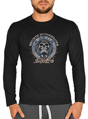 Cooles Männer Herren Langarmshirt longsleeve Muerte Motorcicleta Biker Totenkopf lustiger Aufdruck Farbe schwarz Schwarz