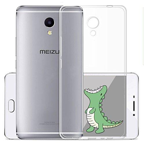 Cover Per Meizu M5S 5,2 pollici,Sunrive® Custodia Case in molle Trasparente TPU silicone Morbida Flessibile Pelle Antigraffio protettiva(tpu Dinosauro)