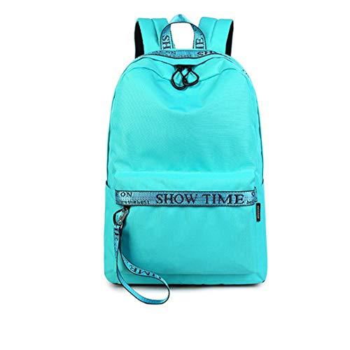 che Schultasche f Stoff Laptop Mädchen Rucksack Solide Jugend Große Kapazität Sky Blue 30.5cmX13.5cmX42.5cm ()