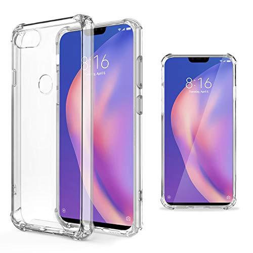 Moozy Funda Silicona Antigolpes para Xiaomi Mi 8 Lite, Mi 8 Youth, Mi 8X - Transparente Crystal Clear TPU Case Cover Flexible