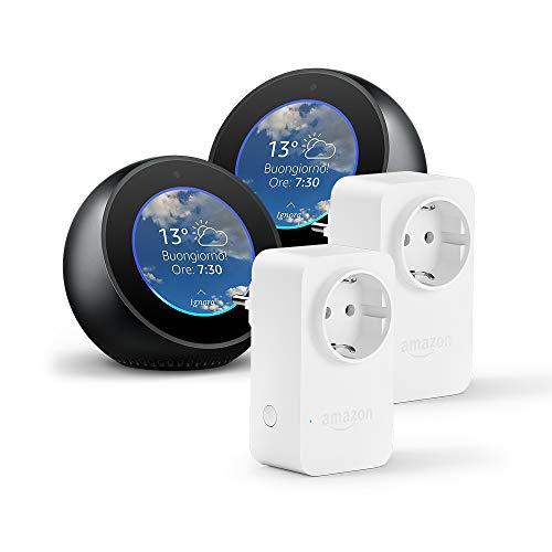 2 Amazon Echo Spot, Nero + 2 Amazon Smart Plug, compatibile con Alexa