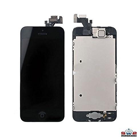 SWS® Kit de Réparation Ecran pour iPhone 5 - LCD Noir avec Vitre Tactile Noire Retina + Camera avant + Bouton Home