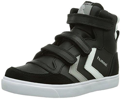 hummel HUMMEL STADIL, Sneaker a collo alto, in pelle Unisex - bambino Nero (Black/White/Grey)