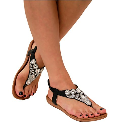 new-womens-diamante-stunning-sandals-summer-ankle-sling-back-strap-flat-shoes-37-4-uk-black2