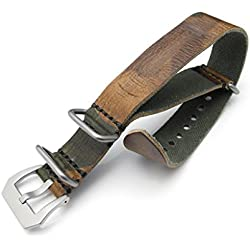 22mm Woodland Camouflage Leather ZULU Watch Strap, Sandblasted Buckle, MiLTAT Grezzo SQ