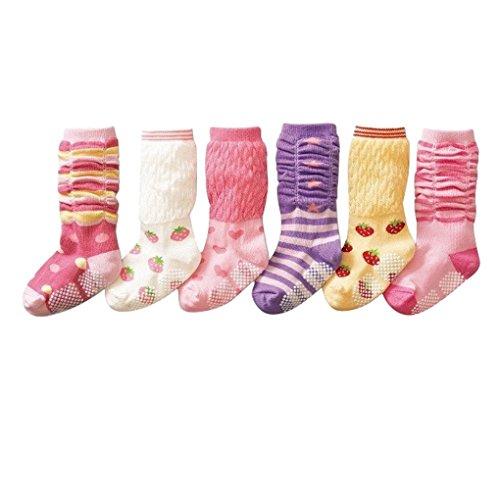 Happy Cherry 6 Paar Baby Kleinkind Mädchen Rutschfest Kniestrümpfe Socken Set Baumwolle - Rosa Erdbeere Pattern