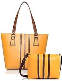 Mammon Women Handbag And Sling Bag Combo (HS-combo-3strip-YT, 40x30x10 CM)