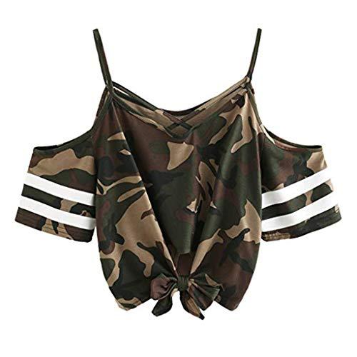 -Shirts Riemen Rundhals Tie up Kurzarm Crop Top Saum Streifen Shirt Junges Mädchen Oberteil Bluse ()