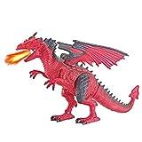 Webla Télécommande Spray Dinosaure Jouet Flamme Dragon Rouge Télécommande Marche Dinosaure Jouet Feu Respiration Respiration Eau Vaporisateur Cadeau De Noël RD(Rouge)