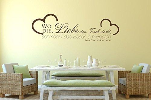 Wandtattoo-bilder® Wandtattoo Wo die Liebe den Tisch deckt, schmeckt das Essen am besten Nr 2 Küche Esszimmer Größe 80x24, Farbe Braun