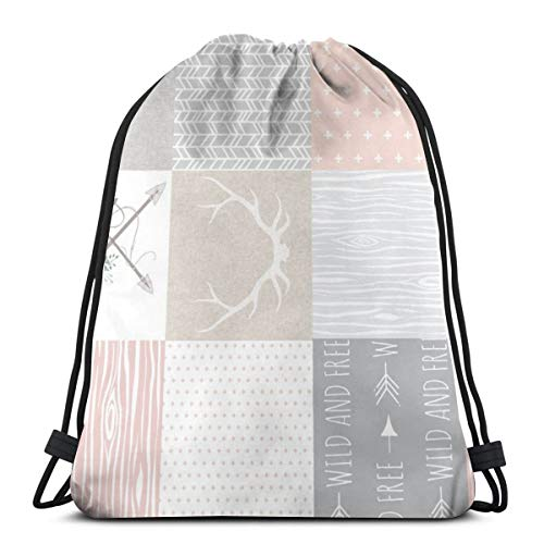 Wholecloth - Boho Baby Girl Quilt - Rotated - Pink Grey Tan_878 Rucksack mit Kordelzug Rucksack Umhängetaschen Leichte Sporttasche zum Wandern Yoga Gym Schwimmen Travel Beach