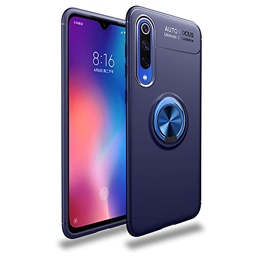 Avalri for Xiaomi Mi 9 SE Case, Shock-Absorption Anti-Scratch Thin Soft 360 Degree Rotating Ring Kickstand Cover with Support Magnetic Car Mount Function for Xiaomi Mi 9 SE (Blue)