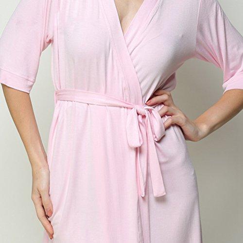 YiLianDa Donna Vestaglie scollo a V Kimono da Notte Pigiama Sleepwear Robe Accappatoio Rosa