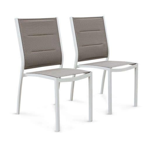 Alice's Garden Lot de 2 fauteuils Chicago - Aluminium Blanc et textilène Taupe