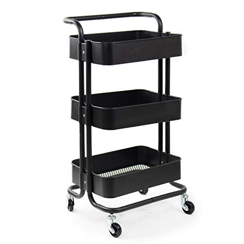 3762258c6e33 FOBUY 3 Tier Rolling Metal Shelving Utility Storage Cart with Wheels,  Organizer Trolley,Suitable for Office,Warehouse,Home Kitchen or Outdoor ...