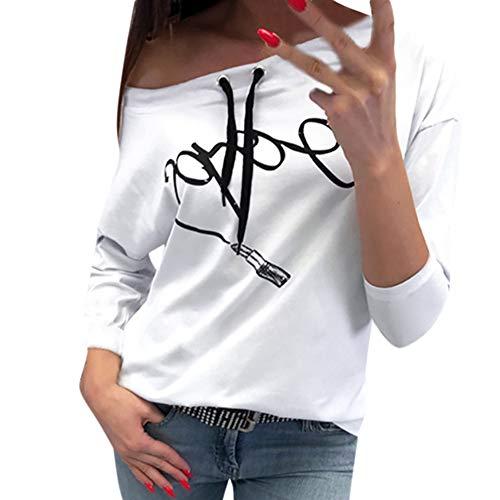 Qmber Damen Shirts Tops Elegant Pullover Frühling Herbst Langarm Mädchen Basics Pulli Bluse Oberteile Sweatshirt Casual Kapuzensweatshirt mit Lippenstift Aufdruck/Weiß,S (Plaid-print-geldbörse)