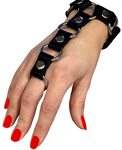 Premium Armband mit Ring Armschmuck Handschmuck Lederarmband Lederschmuck BDSM Fetisch Gothik Punk HANDARBEIT (S/M)