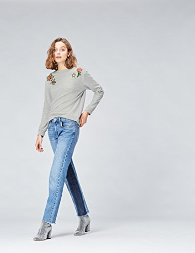FIND Damen Oversized Pullover mit Aufnähern Grau (Grey Mix)