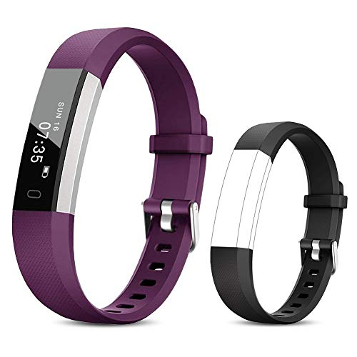 TOOBUR Fitness Armband für Kinder Damen, Schrittzähler Uhr Fitness Tracker mit Kalorienzähler, Wasserdicht Schmal Aktivitätstracker Armbanduhr mit Schlafmonitor und Vibration Wecker (Violett Schwarz)
