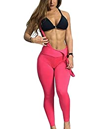 Mengonee Femmes Pure Girl Sling Couleur Yoga Pantalon Legging Pantalon  Fesses Lift Sport 405b1420cb93