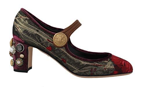 Dolce & Gabbana - Damen Schuhe - Pumps Gold Red Jacquard Crystal Mary Janes Shoes- EU 39