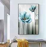 Poster nordic modernAbstract Blaue Blume Leinwand Malerei Moderne babyblau Wandkunst Bild für Wohnzimmer Poster PrintKDFN