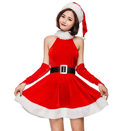 Santa Sexy Handschuhe Kostüm - XIADE Frauen 3-teiliges Set Frau Kostüm Red Sexy ärmelloses Weihnachtskleid Weihnachtsmütze und Handschuhe Santa Cosplay Kostüm,L