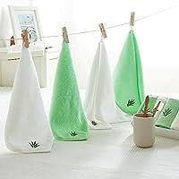 PWTY Conjunto De Toallas 4 Unids/Set Bordado De Hojas De Bambú 100% Algodón Facetowel Cerdito Conjuntos De Toallas De Recuerdo Blanco Verde, 4 Unids