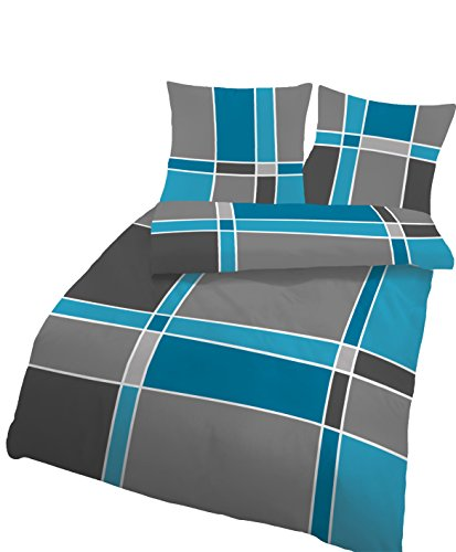 Träumschön Bettwäsche 135x200 4teilig | Bettwäsche-Set im Karo Design | Biber Bettwäsche 4tlg aus 100% Baumwolle