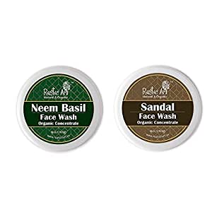 Rustic Art Organic Face Wash Concentrates for Deep Cleansing & De Tanning with Neem Basil & Sandal - 50 gms Each