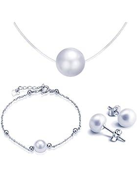 Yumilok 925 Sterling Silber Perlen Charm Armband Halskette Ohrstecker Schmuck Set Armkette & Collier & Ohrringe...