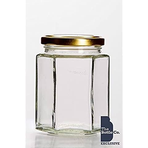 BOTTLE COMPANY 84 X 12OZ/280ML APPROX HEXAGONAL JAM JARS,CHUTNEY,PRESERVE,PICKLE,CANDLE,SWEET,HONEY,WEDDING FAVOUR JARS C/W GOLD LIDS by THE BOTTLE