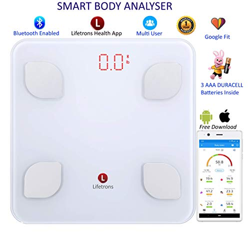 Lifetrons Smart Body Composition Glass Scale to Monitor Weight Loss includes BMI, Fat, Skeletal Muscle, Protein, BMR (White)
