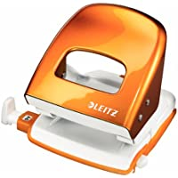 Leitz 50081044 Perforatore per Ufficio in Metallo, Arancione Metallizzato