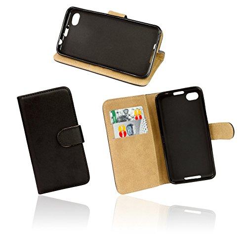 ENERGMiX Buchtasche kompatibel mit Alcatel One Touch Pop C9 7047D Hülle Case Tasche Wallet BookStyle in Schwarz