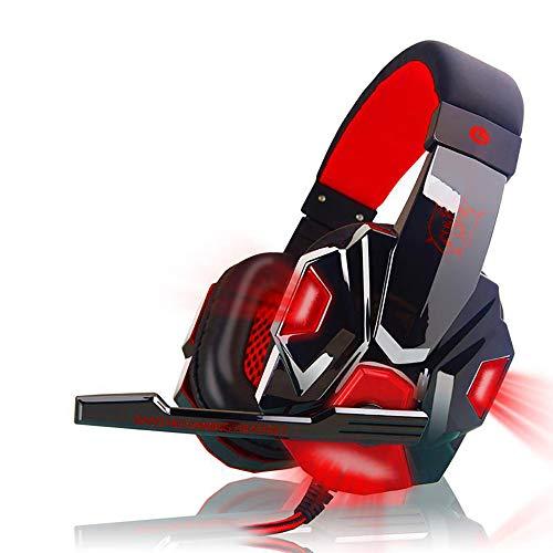 Gaming Headset mit Kabelführung, Geräuschunterdrückung, Bass Professionelle Computer-Gaming-Headset, HD-Mikrofon, Computer PS4, große Kopfhörer für Xbox ONE/Switch / PS3 / PC rot -