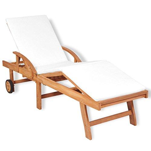 Mewmewcat- lettino da esterno, lettino prendisole regolabile con cuscino in teak 195x59,5x35cm