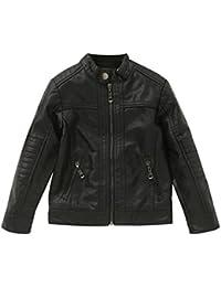 CHIC-CHIC Blouson Motard Veste Faux cuir Fille Garcon - en simili cuir - Manche Longue - Manteau Automne D'hiver pour Enfant