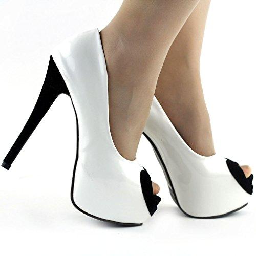 """Show Story zwei ton herz piep zeh 6"""" Stiletto Platform hohe Heels pumpen,LF80808 Weiß"""