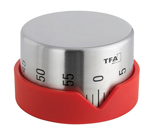 TFA Dostmann Dot analoger Küchen-Timer, aus Edelstahl, akustischer Alarm, 0-60 Minuten