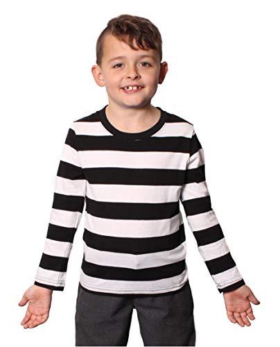 Schwarz-weiß gestreiftes Langarmshirt im Einbrecherstil für Kinder, raffinierte französische Kleidung
