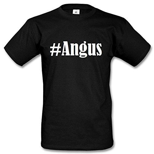 T-Shirt #Angus Hashtag Raute für Damen Herren und Kinder ... in den Farben Schwarz und Weiss Schwarz