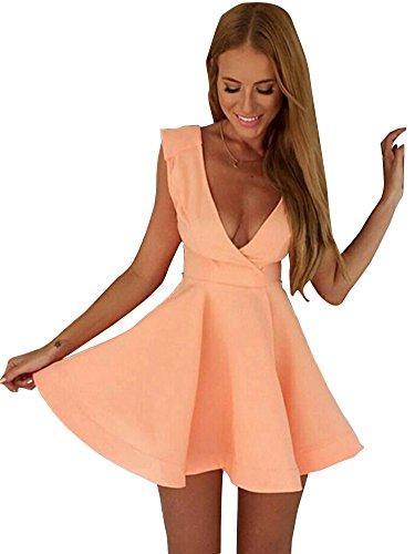 Keral Frauen Charmante Tiefem V Ausschnitt Feste Farbige Mini Kleid Pink