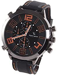 Reloj de hombre - V6 Reloj de pulsera banda de silicona de Acero de Cuarzo de esfera super grande guapo de hombre Naranja