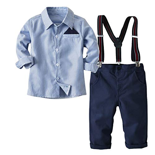 Baby Jungen Bekleidungssets Baumwolle Herbst Anzüge Kleinkinder Langarm Hemd+Hose+Hosenträger Taufanzug Gentleman Anzug Kinderbekleidung (EU:80(Label 90))