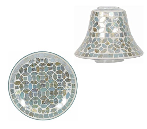 Aromatize Smoky Gold Mosaic Candle Lamp Shade & Plate Set