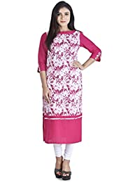 Shivom Fashion Women's Multi Colour New Printed Pure Cotton Kurti With Solid 3/4 Sleevees