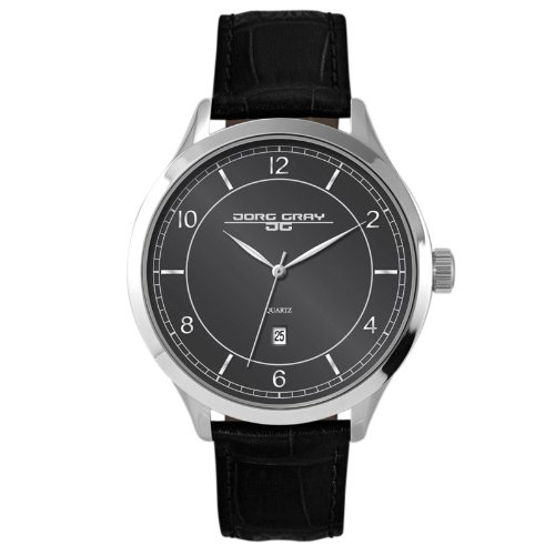 Jorg Gray Men's Quartz Watch with Black Dial Analogue Display and Black Leather Strap JG1060-23