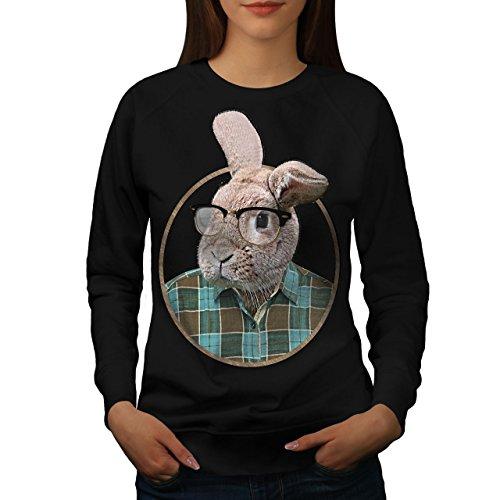 Nerd lapin Geek Oreille Drôle Femme S-2XL Sweat-shirt   Wellcoda Noir